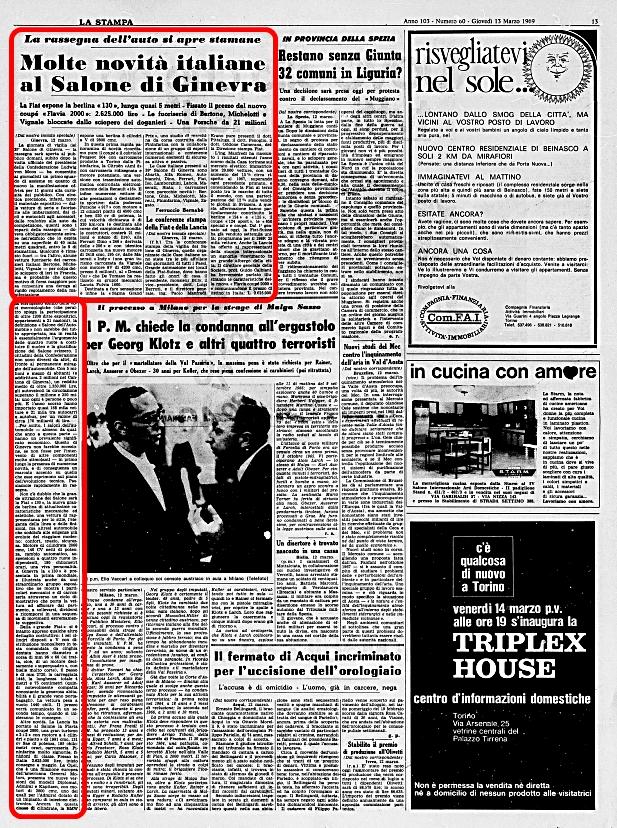 La Stampa, 13 Marzo 1969